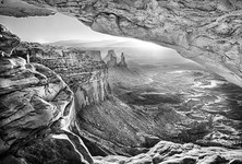 The Mesa Arch in black and white